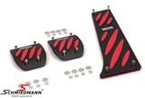 Schmiedmann alu pedal sæt sort/rød -Exclusive- med nedfræsede logoplader