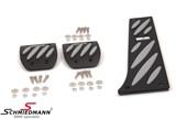 Schmiedmann alu pedal sæt sort/grå -Exclusive- med nedfræsede logoplader