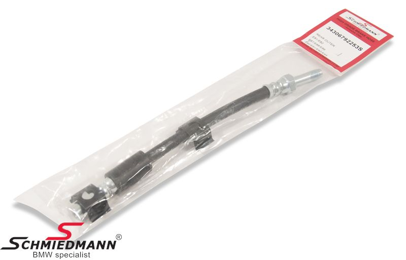 Brake hose outer rear from trailing arm-Calipers 200MM, -Schmiedmann HG High Grade- inclusive clips