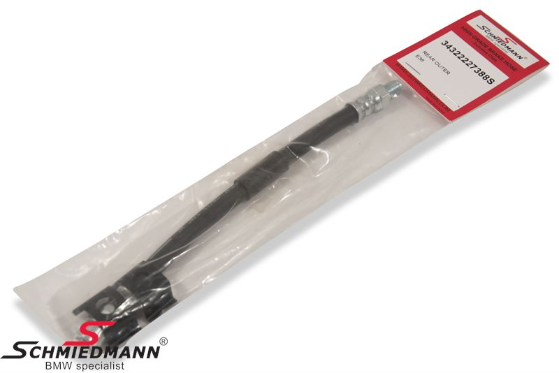 Brake hose outer rear from trailing arm - Calipers -Schmiedmann HG High Grade- inclusive clips