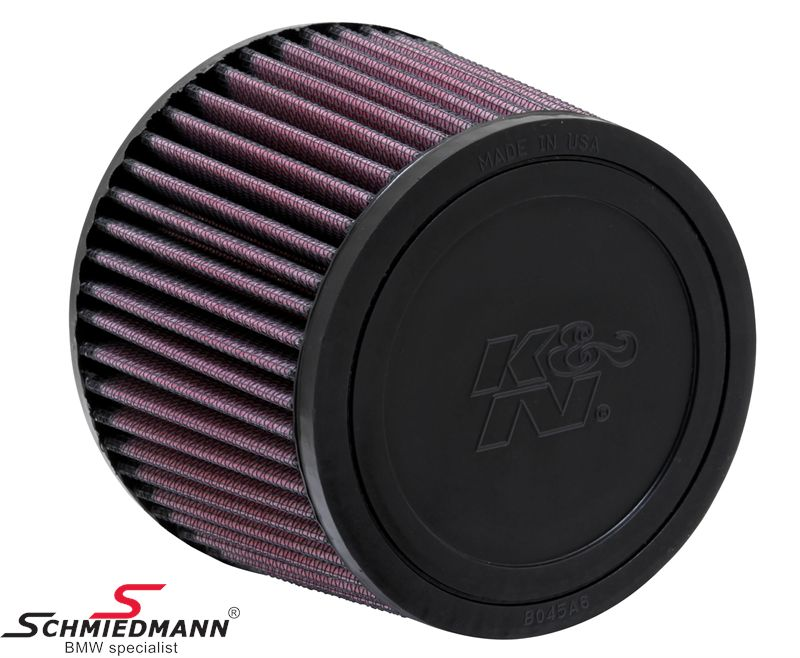 KN clamp-on conical universal sport airfilter, flange offset dia. 62MM / dia. top 114MM / dia. base 140MM height 102MM, max. 200HP