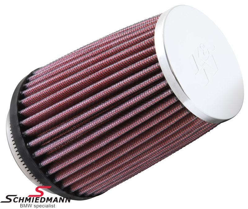 KN clamp-on conical universal sport airfilter, flange centred dia. 73MM / dia. top 76MM / dia. base 102MM height 127MM, max. 160HP