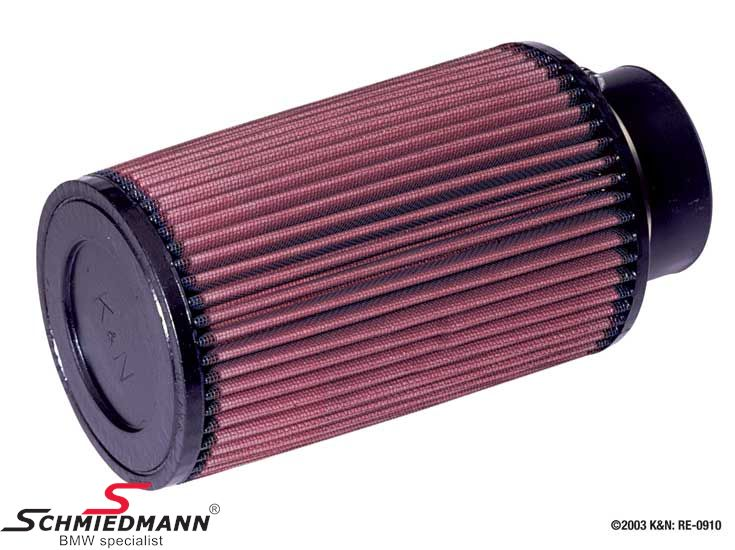 KN clamp-on conical universal sport airfilter, flange centred dia. 76MM / dia. top 117MM / dia. base 127MM height 203MM, max. 275HP