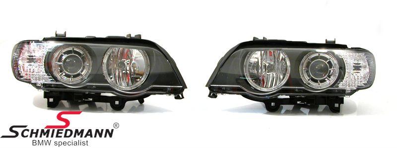 Klarglas forlygter -Upgrade- i angel-eyes facelift look med ringe + hvide blink