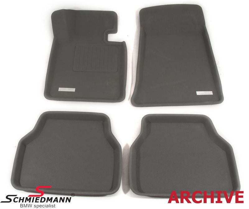 Floormats, luxury edition of the rubber floormats, waterproof rubber with high edges and SI-anti-slip-system (they wont slip), front/rear original Schmiedmann -SI3D- grey