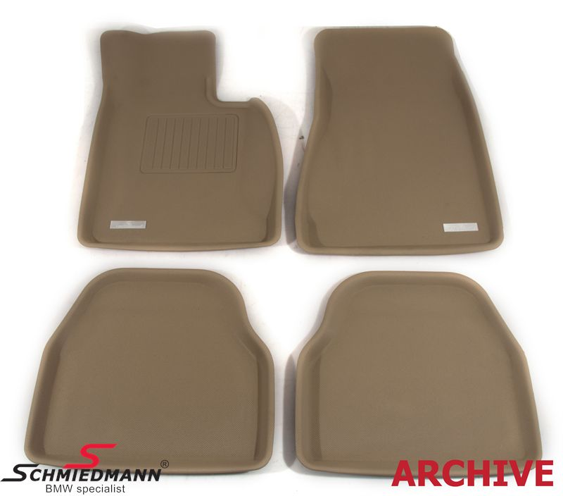 Floormats, luxury edition of the rubber floormats, waterproof rubber with high edges and SI-anti-slip-system (they wont slip), front/rear original Schmiedmann -SI3D- beige