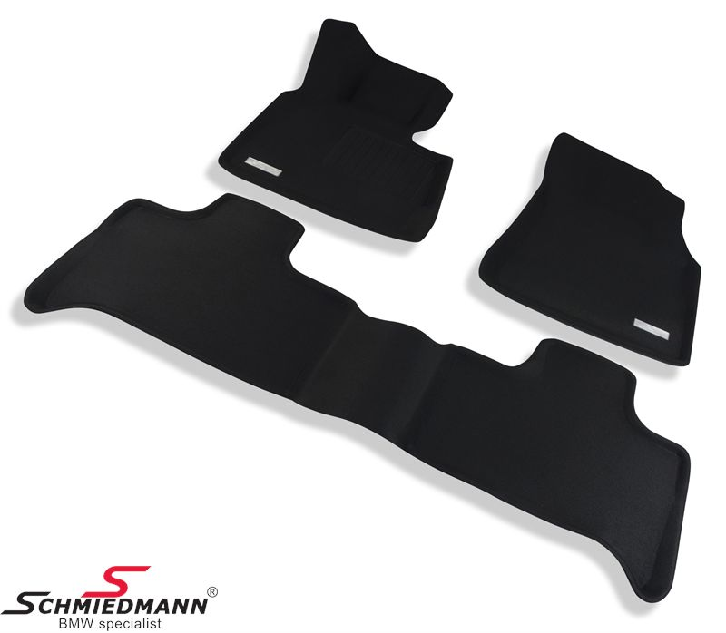 Floormats, luxury edition of the rubber floormats, waterproof rubber with high edges and SI-anti-slip-system (they wont slip), front/rear original Schmiedmann -SI3D- black