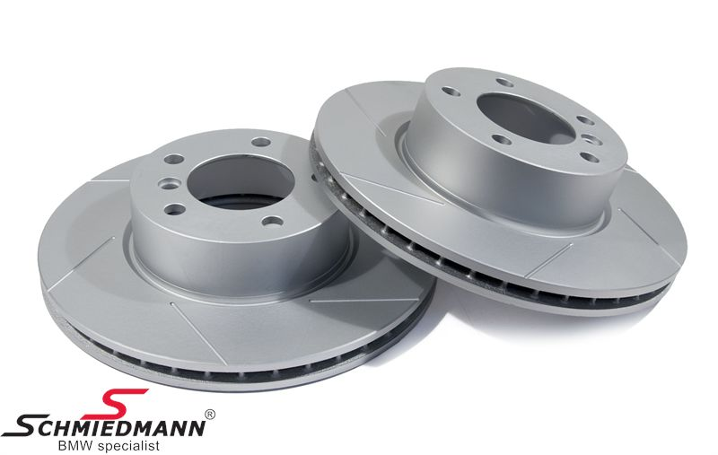 Sport-brake-discs front set 300X24MM ventilated, slotted and S-coated, Schmiedmann