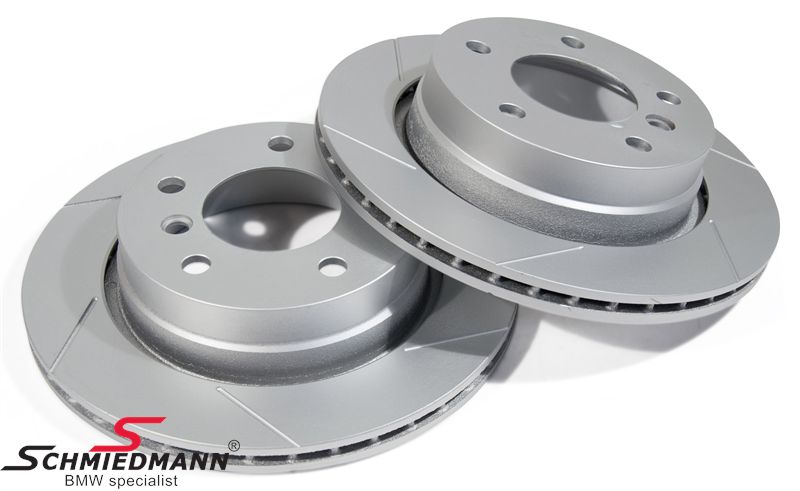 Sport-brake-discs rear set 276X19MM ventilated, slotted and S-coated, Schmiedmann