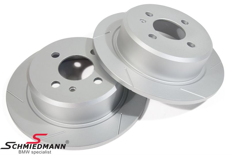 Sport-brake-discs rear set 258X10MM solid, slotted and S-coated, Schmiedmann