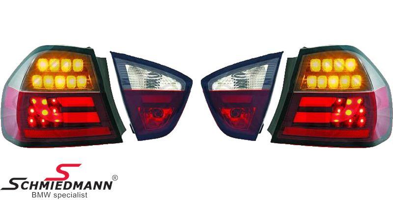 Baglygter LED stav-design, rød/smoked