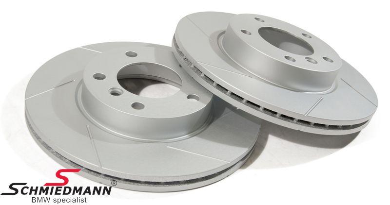 Sport-bremseskiver for sæt 286X22MM ventilerede med riller og S-coating, Schmiedmann