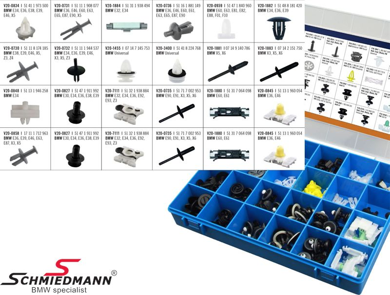 BMW fastener assortment kit,  the most used 19 different fastener types - if you run out of one type you can reorder each single type to fill up the box again