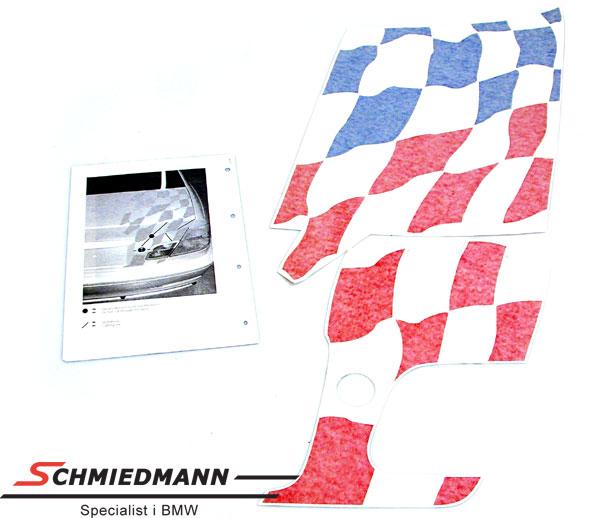 BMW motorsport flag formskåret til bagklappen violet/rød