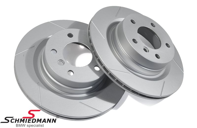 Sport-brake-discs rear set 300X20MM ventilated, slotted and S-coated, Schmiedmann