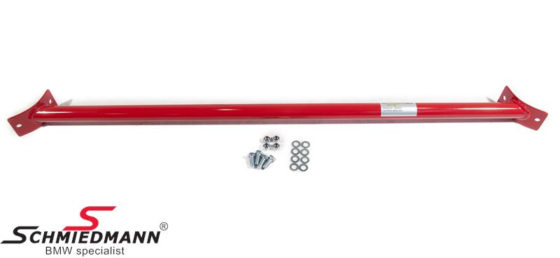 Strut bar -Wiechers Sport- rear, painted steel red R3002 (to be installed between the towers - small holes must be drilled)