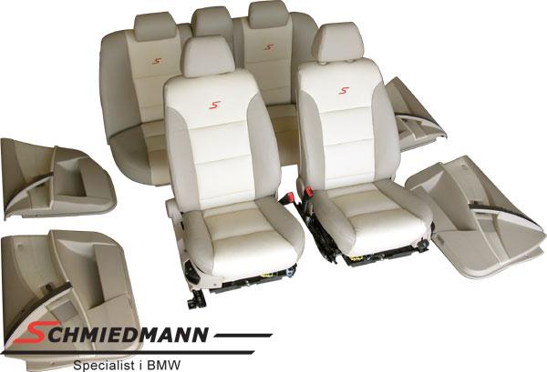 Læderindtræk org. Schmiedmann bi-colour beige/creme uden montering