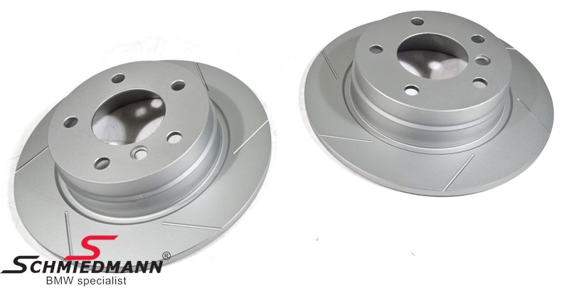 Sport-brake-discs rear set 280X10MM solid, slotted and S-coated, Schmiedmann