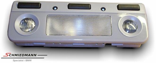 Taklampe (grå) med leselampe