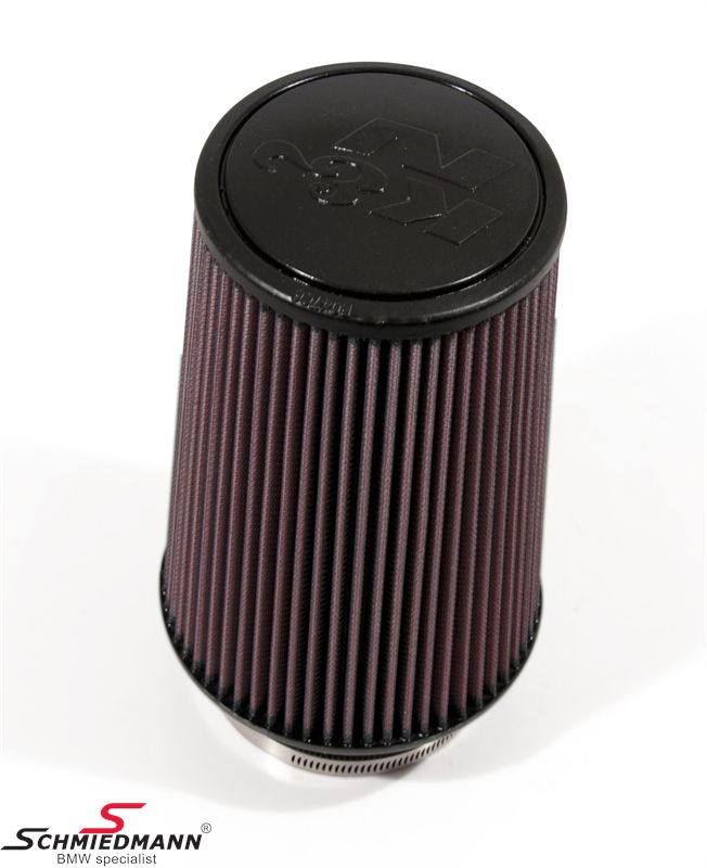 KN clamp-on conical universal sport airfilter, flange centred dia. 102MM / dia. base 152MM height 229MM, max. 350HP