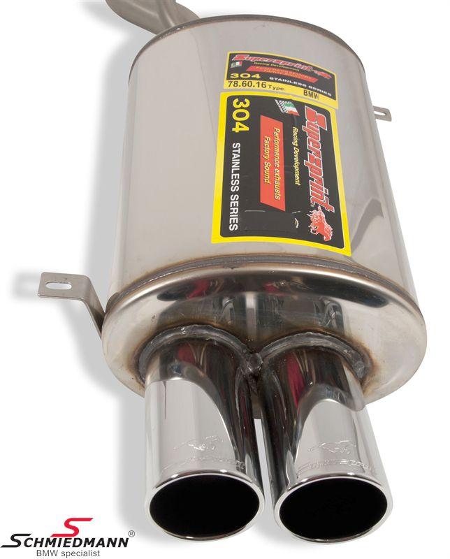 Sportsbagpotte rustfrit stål Supersprint H.-side med 2XØ80MM runde rørhaler