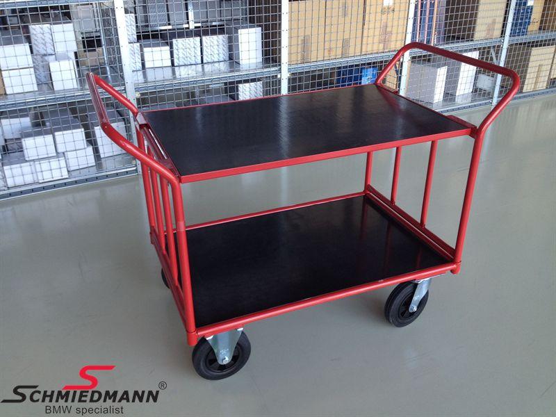 Plukkevogn rød kraftig type, top-plade 100cm lang 66cm bred (aftagelig top-plade)