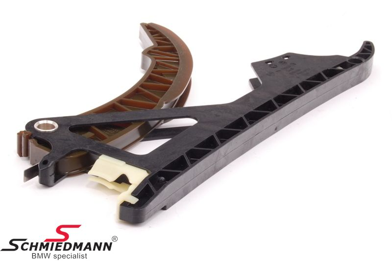 Timing chain tensioner- and guide rail