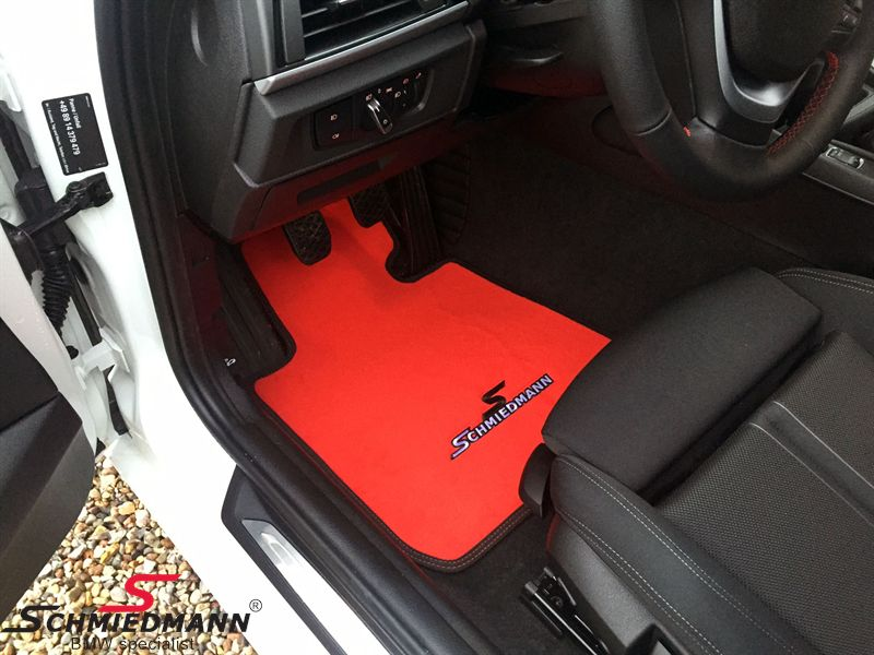 Floormats front/rear original Schmiedmann -Sport EVO Red- red