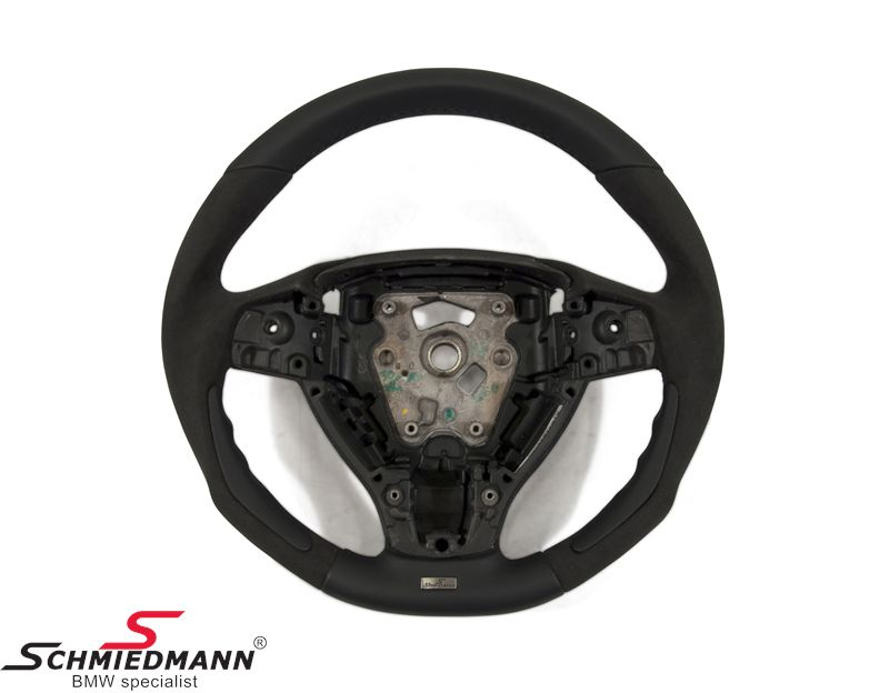 Schmiedmann flat bottom sport steering wheel 3 spoke handmade with genuine perforated alcantara/nappa leather