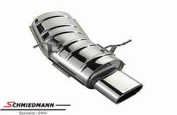 Eisenmann Sportendschalldämpfer flach ovalem Endrohr 150X65MM (mit nur einen Anschlussrohr)