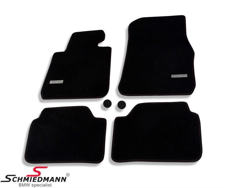 Fussmatten vorne/hinten original Schmiedmann -Exklusive- extra dick mit roten Nähten