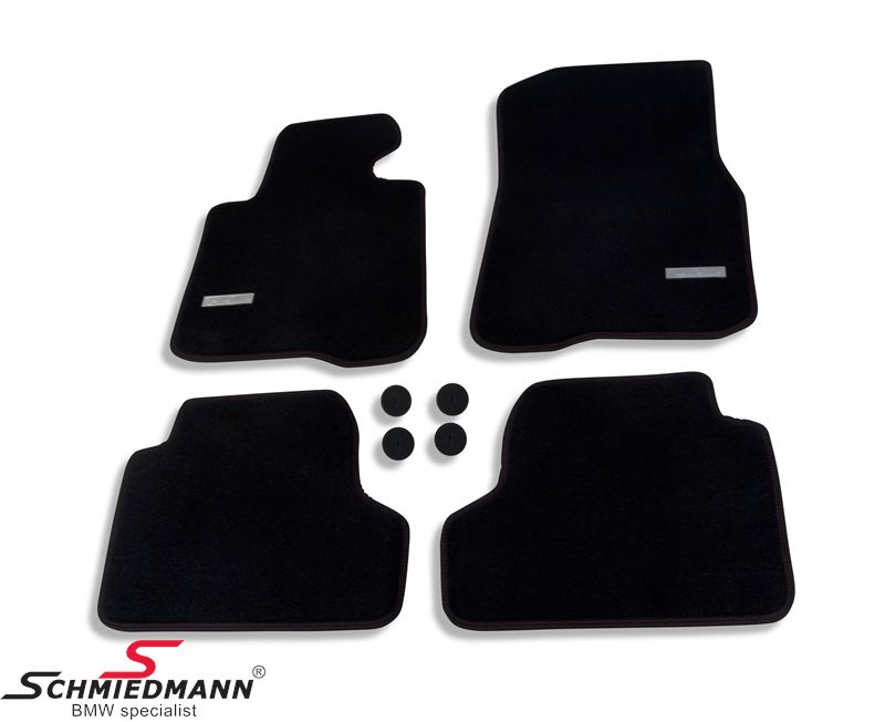 Floormats front/rear original Schmiedmann -Exclusive- extra thick quality with red sewings