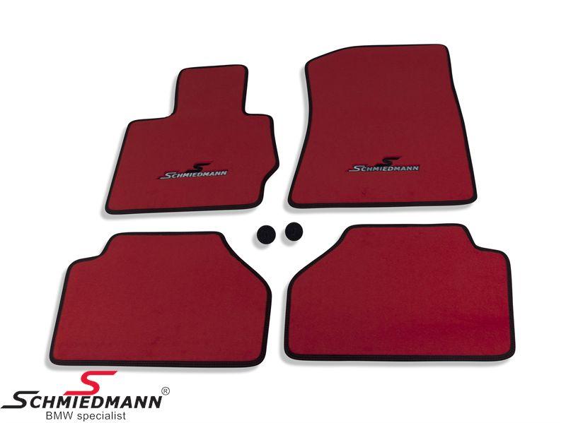 Floormats front/rear original Schmiedmann -Sport EVO Red- red