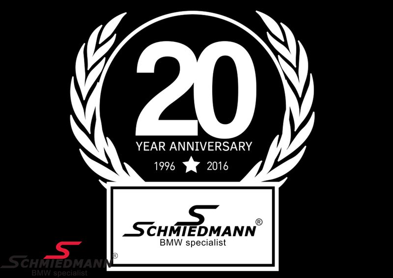 Schmiedmann sticker white -20 YEAR ANNIVERSARY- hight 80MM