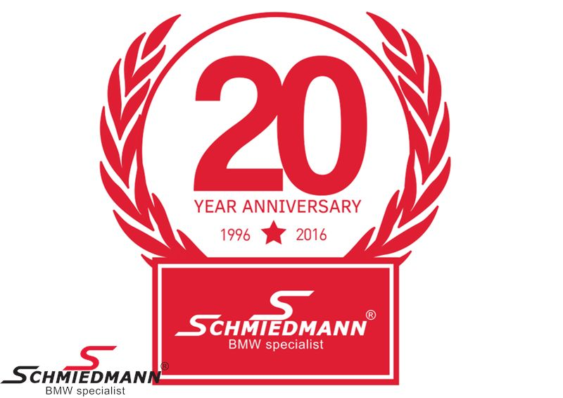 Schmiedmann sticker red -20 YEAR ANNIVERSARY- hight 80MM