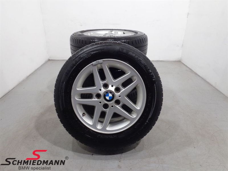 """15"""" org. BMW Aluwheels with tyres """"LM Rad Doppelspeiche 53"""""""