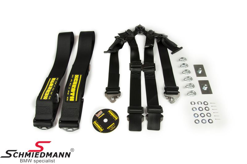 Racing 6 point restraints -Hosenträgergurt- Profi II-6 SlipStop original -Schrothgurt- black fits both sides