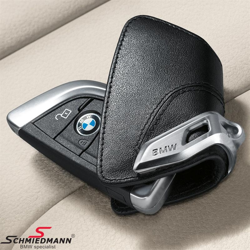 Key case, Luxury black with stainless-steel clip - Original BMW