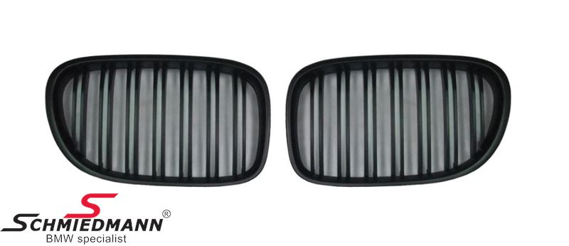 Kidney set mat black with double grill spokes