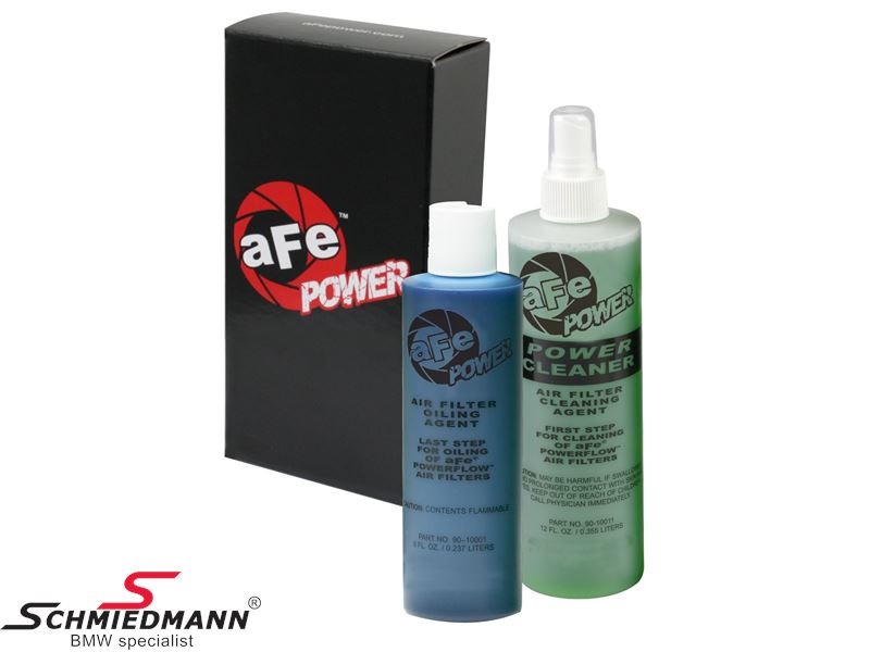 AFE Power Air Filter Restore Kit, containing 8oz./0,237L. cleaner and 12oz./0,355L. oil