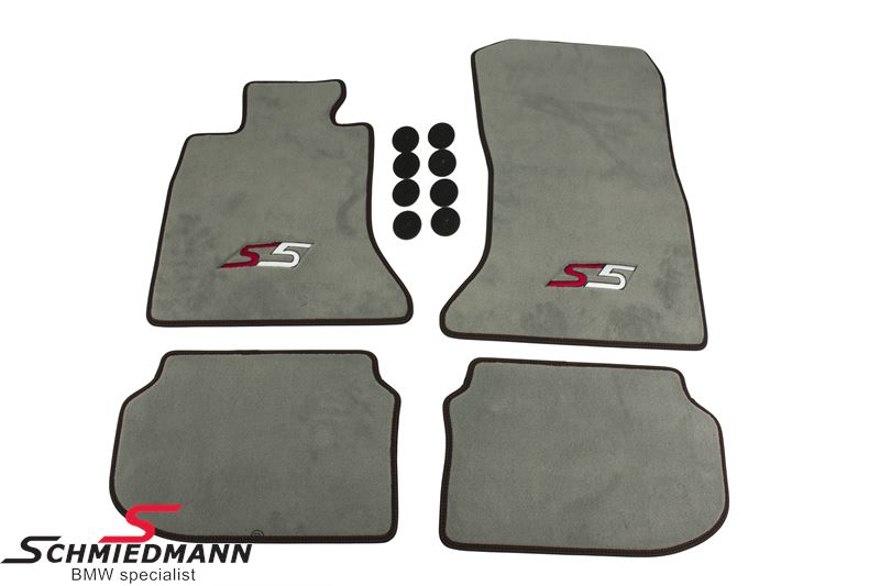 Floormats front/rear original Schmiedmann -S5- grey extra thick, with black Nubuk edging with red sewings