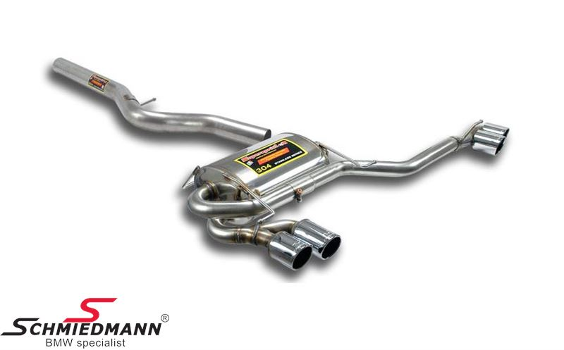 4 pipe exhaust system R.+L-side stainless steel Supersprint -Power Loop- tailpipes 4X80MM round