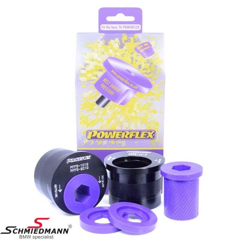Powerflex racing bærearmsbøsninger, sæt til bagerst på forreste bærearm, caster justeret +2°