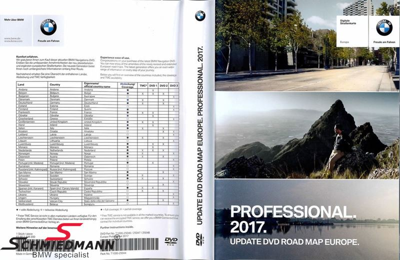 Navigation Professional opdaterings-DVD original BMW Europa 2017