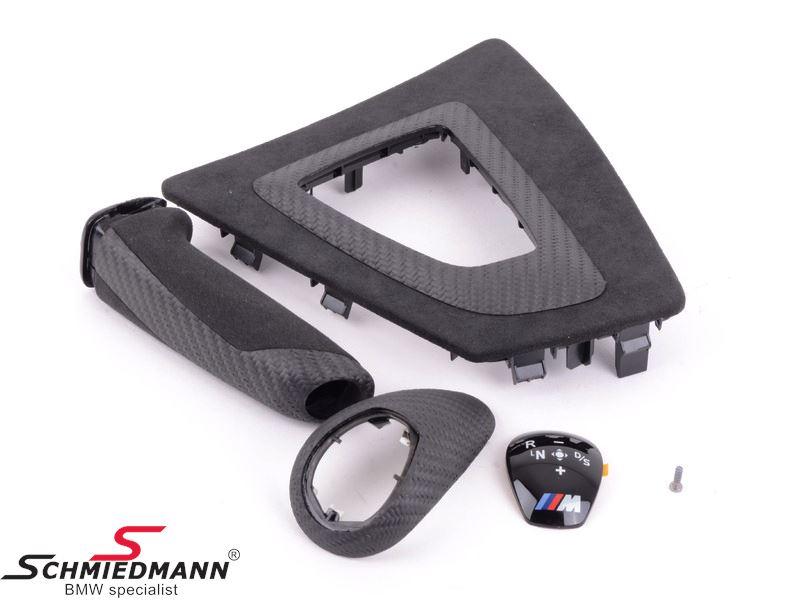 Interior kit carbon/alcantara -/// M-Performance- Shifter knob cover, shifter base and handbrake handle