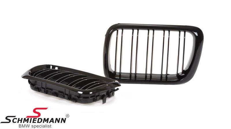 Nieren Satz komplett Hochglanz schwarz mit Doppelt-Grills  im Facelift 97´Design für die neue Modell-Front