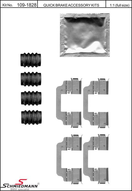 Klipps för bromsklossar  bak, inkl. bussningar för glidbultar