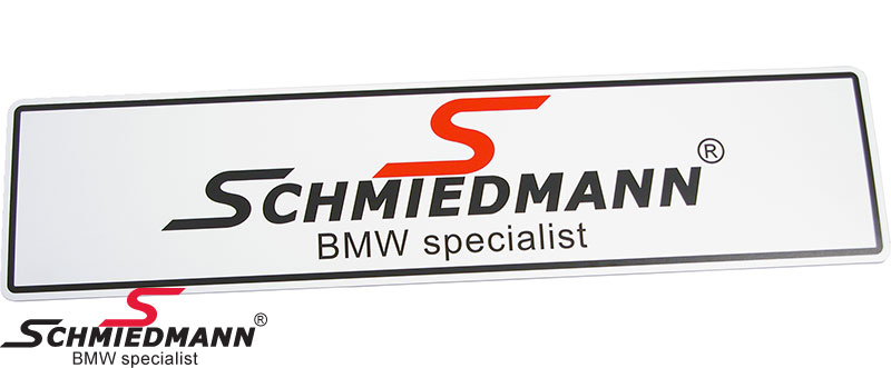 Schmiedmann white logo show/exhibition licenseplates for sales/show cars 50x12CM