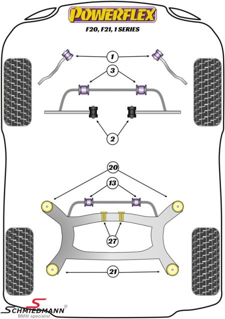 powerflex racing front arm  wishbone  inner bush set  pos