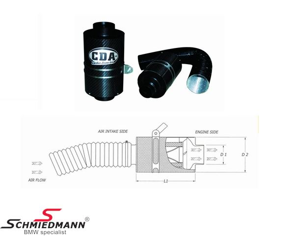 BMC Kolfiber dynamics airbox, universal D1:82mm D2:150mm L:200mm